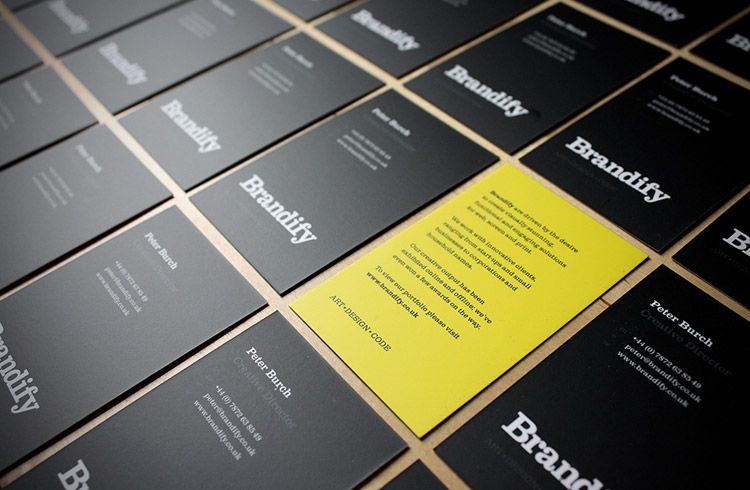 Business Cards for Brandify with yellow reverse